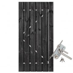 Tuindeur zwart gespoten grenen met RVS slot (90x200 cm)