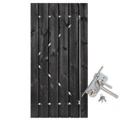 Tuindeur zwart gespoten grenen met RVS slot (120x200 cm)