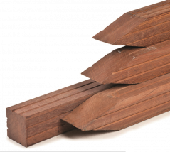 Paal hardhout met punt (7x7x275 cm)