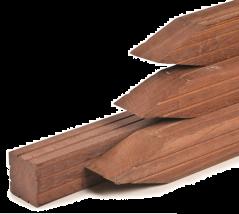 Paal hardhout met punt (7x7x300 cm)