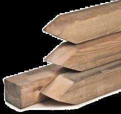 Paal geïmpregneerd grenen met punt (9x9x150 cm)