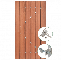 Tuindeur hardhout met RVS slot (100x195 cm)