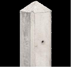 Betonpaal wit/grijs - hoekmodel met diamantkop (10x10x280 cm)