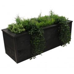 Zwart steigerhouten plantenbak 150x40x40 cm