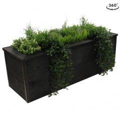 zwarte steigerhouten plantenbak 120x40x40