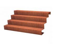 Trap cortenstaal 4 treden 68 cm hoog (in dit voorbeeld 150 cm lang)