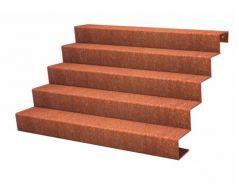 Trap cortenstaal 5 treden 85 cm hoog (in dit voorbeeld 150 cm lang)