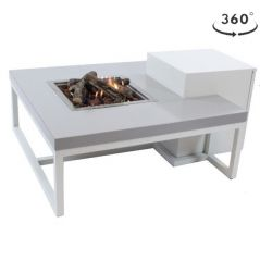 Enjoyfires vuurtafel Ambiance vierkant wit grijs 90x90 cm.