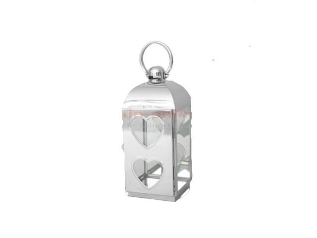 RVS lantaarn 16x17x39 cm. met hartjes