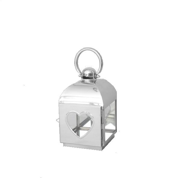 RVS lantaarn 16x17x28 cm. met hart