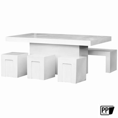 Rechthoekige tafel Glossy white