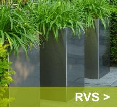 Grijs glimmende plantenbakken met hoge duurzaamheid