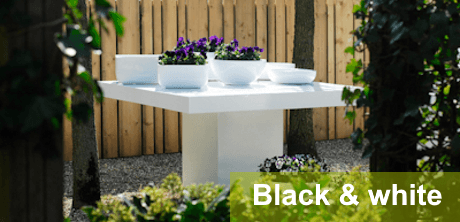 Glossy black & white tuinmeubelen