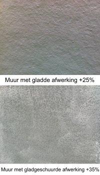 Platoflex muren kunnen ook worden geleverd met gladde of gladgeschuurde afwerking